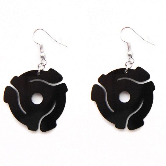 black acrylic 45 record spacer dangle hook earrings
