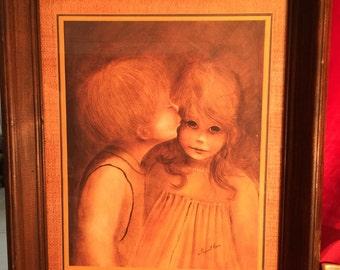 Innocent Romance; First Kiss by Margaret Kane; Large eyed Children; Big eyed Kids