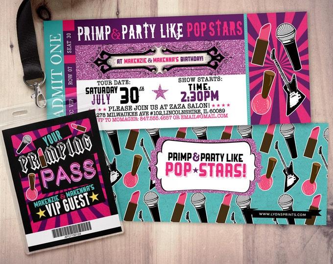 Spa party, Pop star, Rock Star concert ticket birthday party invitation- primp, rockstar party, pop star, karaoke party, girl birthday