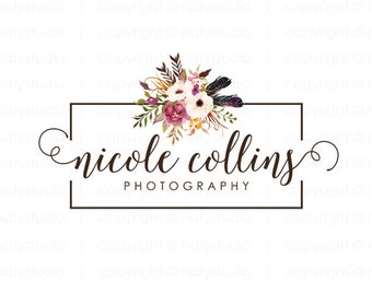 Flower logo photography logo premade logo design floral logo photographer logo boutique logo small business logo