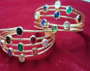 Multi  zircon  stones adjustable  bracelet