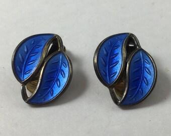 Vintage Signed David Andersen Sterling Silver Double Leaves Blue Guilloche Enamel Earrings
