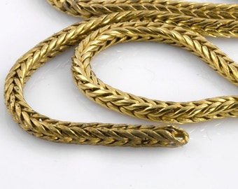 Vintage solid yellow brass 3.5mm  woven foxtail chain sold by the foot. b12-chn575(e)