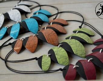 Raku style necklace