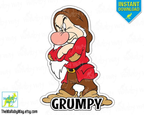 Grumpy Snow White & the 7 Dwarfs Printable Iron On Transfer or