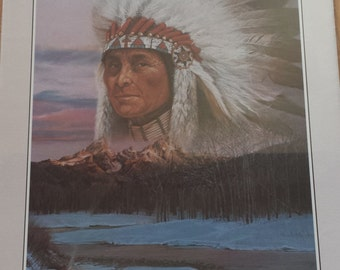 Vintage Native American Print by Julie Kramer Sidekick 1985