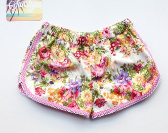 Rose Floral Pink & Yellow Sporty Shorts