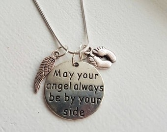 May your angel always be by yoir side charm pregnancy and infant loss baby sids anencephaly necklace miscarriage
