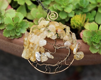 Brass Citrine Tree of Life Wire Wrapped Autumn/Fall Pendant - Protection Necklace - Spiritual Pendant