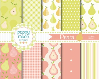 Pears digital paper pack, gingham,stripe and polka dot, lime green and pale pinks backgrounds