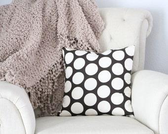 Decorative Pillow Cover, Home Decor, Polka Dot Decorative Pillows, Brown Polka Dot Pillow Sham, Pillow Sham, 16x16 Throw Pillow