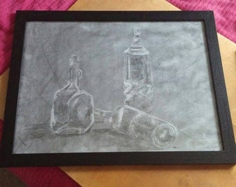 Original, hand-drawn in charcoal- Reflective Bottles