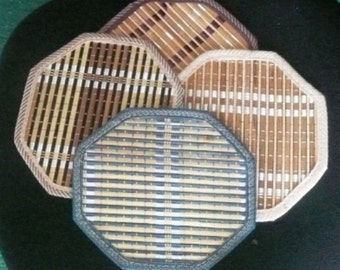 Woven Wicker Bamboo Hot Pad Set of 4