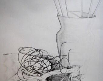 Wooden Flower, graphit on paper, 14 half x 21 in.