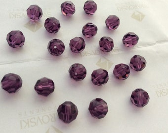 Swarovski #5000 Crystal Amethyst Purple Round Ball Faceted Beads 3mm 4mm 6mm 8mm 10mm 12mm