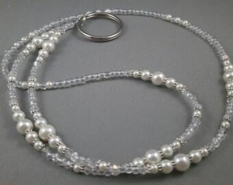 White handmade beaded lanyard necklace, select size, ID badge holder, eyeglasses lanyards,keychain or keycard holder ,women gift under 20