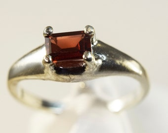 Garnet Dome Style Sterling Silver Ring
