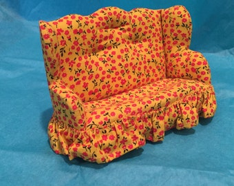 1:12 Scale Yellow Print Fabric Couch