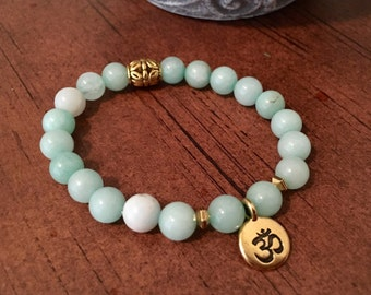 Amazonite Gold Plated and Om Charm Bracelet, Yoga Bracelets, Spiritual Bracelets, Gift for Her, Gemstone Jewelry, Gift Ideas for Her