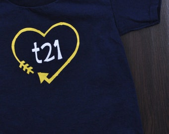 "Down Syndrome Awareness Shirts ~ Girls and Boys, Navy Blue T-shirt with Yellow and White ""T21"" Logo with Arrow Heart"