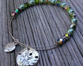Sand Dollar Bracelet, Silver Charm Bangle, Silver Sand Dollar Charm, Green Crystal and Pearl Bangle, Swarovski Crystal and Pearl Bracelet