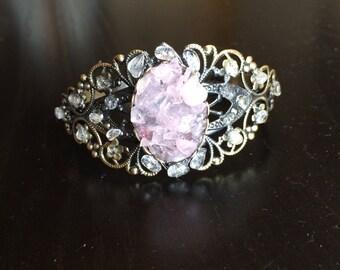Clear crystal and Rose Quartz gemstone cuff bracelet