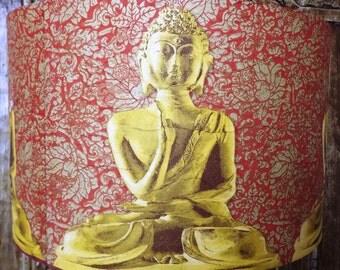 Budha lamp shade  Shabby Chic Red gold white Free Gift