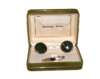 "Vintage Swank ""Grand Prix"" Jade Tie Clip & Cuff Links Set in the Original Box"