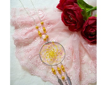 ON SALE - Dreamcatcher necklace ,Dream Catcher handmade crystal beads necklace in yellow