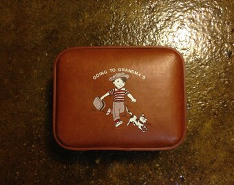 "Vintage ""Going To Grandma's"" Trojan Luggage Co. Suitcase"