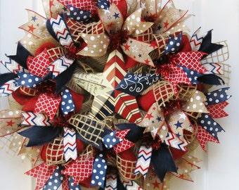Patriotic Wreath, Memorial Day Wreath, 4th of July Wreath, Burlap Patriotic Wreath, Americana Wreath, July 4 decor, Star Wreath, Military