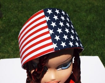 USA HEADBAND - Red White and Blue Stars and Stripes Patriotic Headband - Women's  Headband - Men's Headband