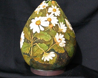 Hand Carved Daisies Decorative Gourd