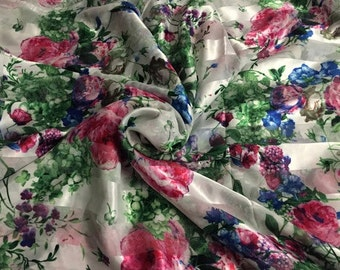Designer burnout White charmeuse, with a colorful floral print, 60 Wide, Price is per Yard
