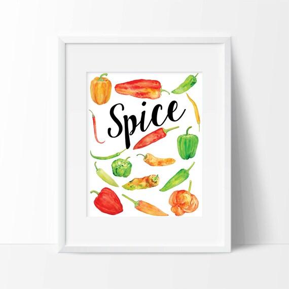 Spice Chili Peppers Art Print Spice Art Kitchen Art Wall