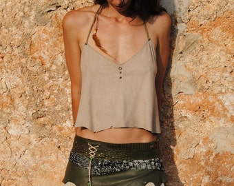 handmade veige leather top , backless, with feathers, rivets and seashell
