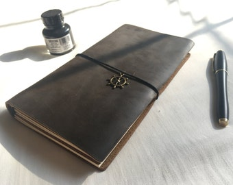 Leather Notebook-Brown/Free Gift Wrap/Handmade/Leather Journal/Valentine/Rustic/Refillable/Traveler/Craft/Vintage/Fauxdori/Midori/Her/Him