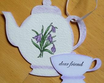 Purple tea pot tag