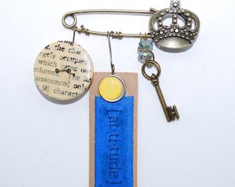 Art Assemblage Pin, Mixed Media Jewelry Pin