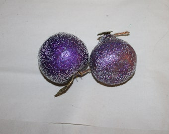 Vintage Pear and Apple, Purple, Home Decoration, Centerpiece, Lightweight, Sparkly, w Leaves, Perfect for Dining Room, Seasonal, Holiday