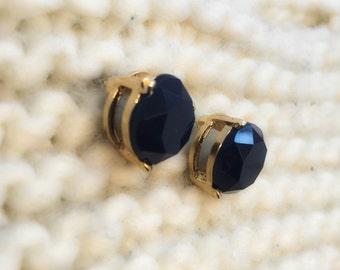 Dark blue stud earrings, bridesmaid earrings, gold earrings, blue post earrings, circle earrings, everyday earrings, wedding earrings,