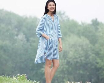 blue white stripes silk v nevk dresses BonLife
