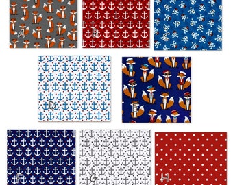 Boys Nautical Bedding Foxes -  Custom Baby Bedding - anchor, red navy blue - bumper, skirt, sheet, changing pad cover, rail guard, quilt