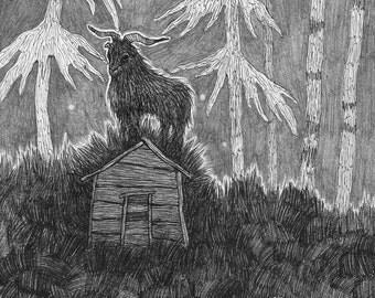A Hut In The Grass - Print