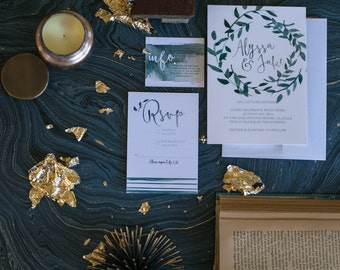 Midnight Wreath watercolor Wedding Invitation