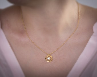 Flower Heart, Silver Heart Flower, Freshwater Pearl, Flower Necklace, Flower Pendant, Gold Flower, Pearl Flower