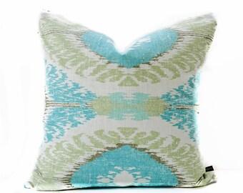 ikat pillow cover turquoise beige pillow linen pillow blue pillow tribal pillow