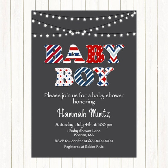 May The Fourth Be With You Baby Shower: Red White And Blue Baby Shower Invitation By