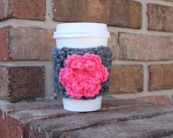 Flower coffee sleeve - reusable coffee cozy - coffee to go cup cozy - disposable coffee cup sleeve - crochet cozy - coffee cuff