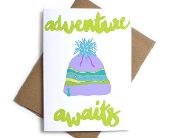 Adventure Awaits Greeting Card | Card for Graduate | Adventure Travel | Graduation Card | Hiking | Outdoorsy | Beanie Greeting Card
